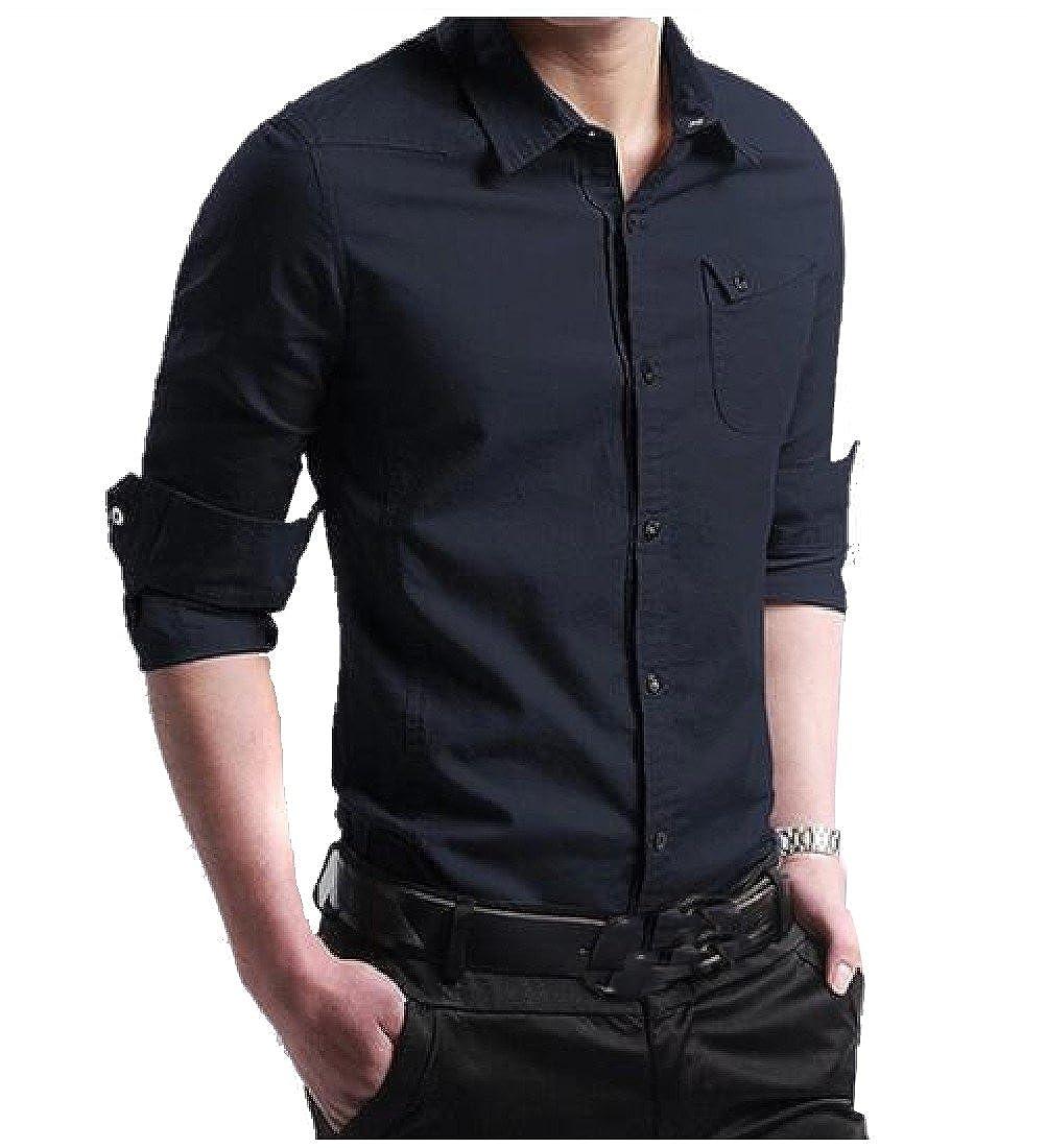 YUNY Men Long Sleeve Solid Casual Business Turn-Down Collar Woven Shirt Dark Blue L