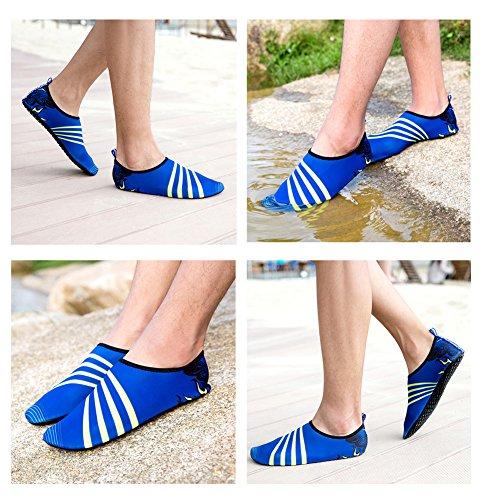 Lxso Herren Damen Schwimmen Schuhe Quick Dry Aqua Wasser Socken Hausschuhe Leichte Barfuß Haut Schuhe Für Strand Pool Blau
