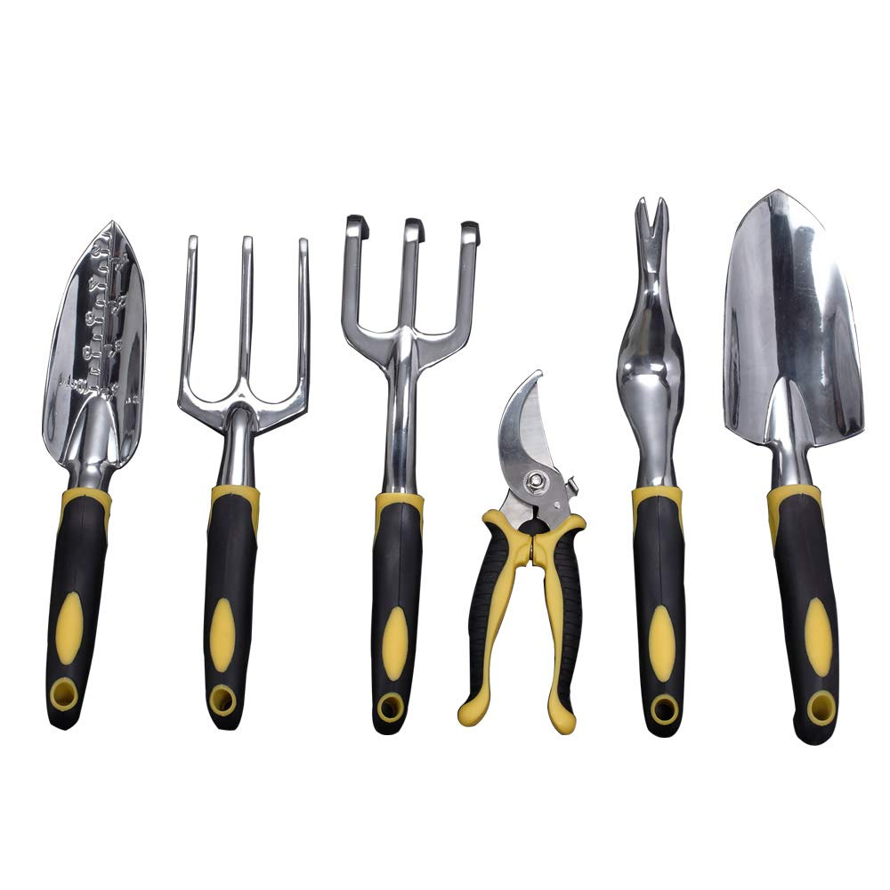 Garden Tools Set, Contains 6 pieces - Transplanter, Including Trowel, Cultivator, Weeding Fork, Weeder and Secateur. Heavy Duty Cast-aluminum Heads Ergonomic Handles Gardening Tool.FREE Garden Gloves.