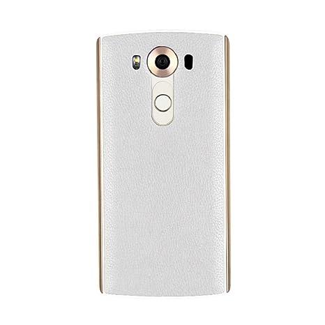 Tongshi Para LG V10,Cuero Qi cargador de carga inalámbrica Receptor caja de la pila + Pegatina Soporte NFC (blanco)
