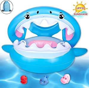 Brave Hours Shark Baby Inflatable Toddler Pool Float Swimming Ring with Sun Canopy for The Age 6-48 Months with Bath Toys & Gift Storage Bag.