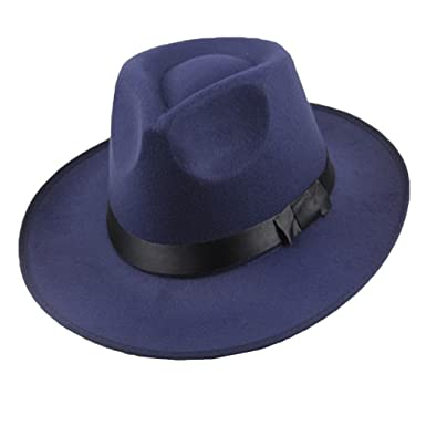 acheter mieux vif et grand en style grande sélection junkai Hommes Femmes Feutre Chapeau Large Bord Fedora Panama Hat Gangster  Vintage Cap