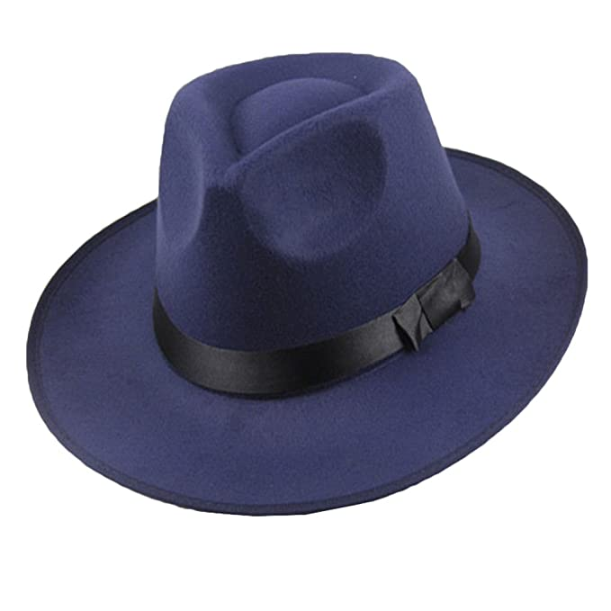 junkai Cappello Rigido Da Uomo In Feltro Con Cappello Fedora Panama Blu One  Size  Amazon.it  Abbigliamento d2bcc23796be
