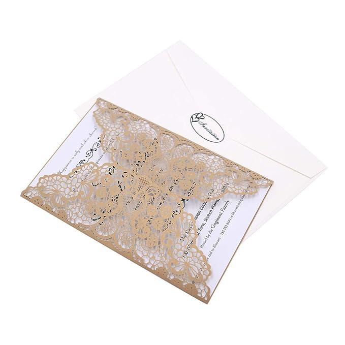 CYSKY Kit de tarjetas de invitaciones con corte láser 40 paquetes de invitaciones de boda con sobres y tarjetas interiores para bodas, fiestas de cumpleaños ...