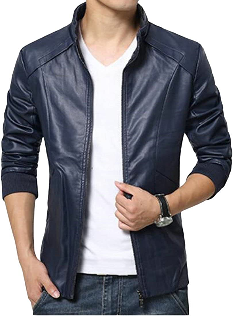 CMCYY Men Slim Fit Faux-Leather Stand Collar Zipper Front Moto Jackets Coat