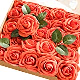 Ling's moment Artificial Flowers Dark Orange Roses 50pcs Real Looking Fake Roses w/Stem DIY Wedding Bouquets Centerpieces Arrangements Party Baby Shower Home Decorations