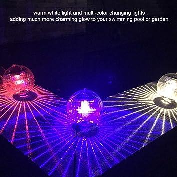 Jacksking Solar-Pool Multi-Color wasserdicht solarbetriebene schwimmende Kugel Lampe Dekor Licht f/ür Schwimmbad Garten Solarlicht