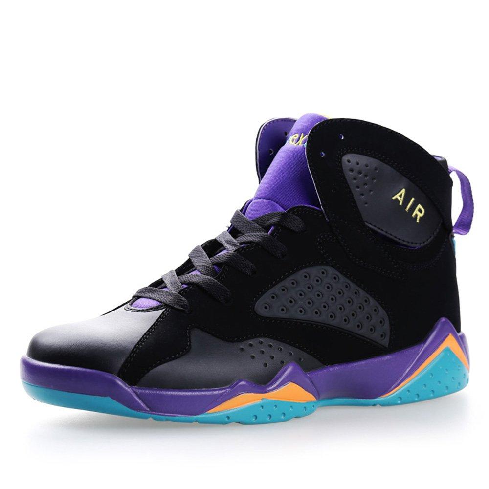 YOKOT Men's Women's Athletic Basketball Shoes Rubber Cushion Non Slip Breathable Performance High Top Sports Sneakers B078MY4TNT 6 D(M) US Black Purple