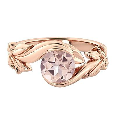 8f14549229726 Diamond Mine 1.00 CT natural peach/pink VS Morganite Ring 14k Rose Gold  Flower Leaves Designer