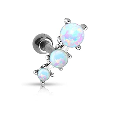 bfbcbfc58 Amazon.com: Triple Opal Ball Tragus Barbell 316L Surgical Steel Cartilage  Bar Helix Piercing 16GA: Jewelry