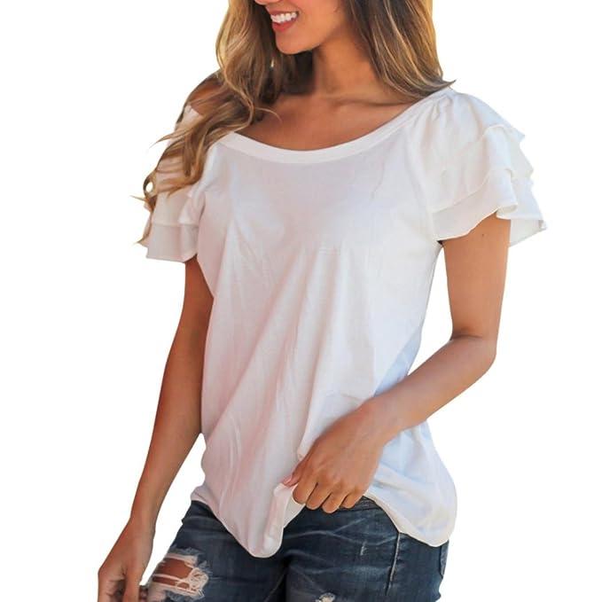 Con Camicetta Shirt Maniche Corte Donna Bianca T Longra Balze SpUzVqMG