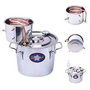 Seeutek 2 Gallon 8L Water Alcohol Distiller Copper Tube Moonshine Still Spirits Home Brew Wine Making Kit Stainless Steel Oil Boiler