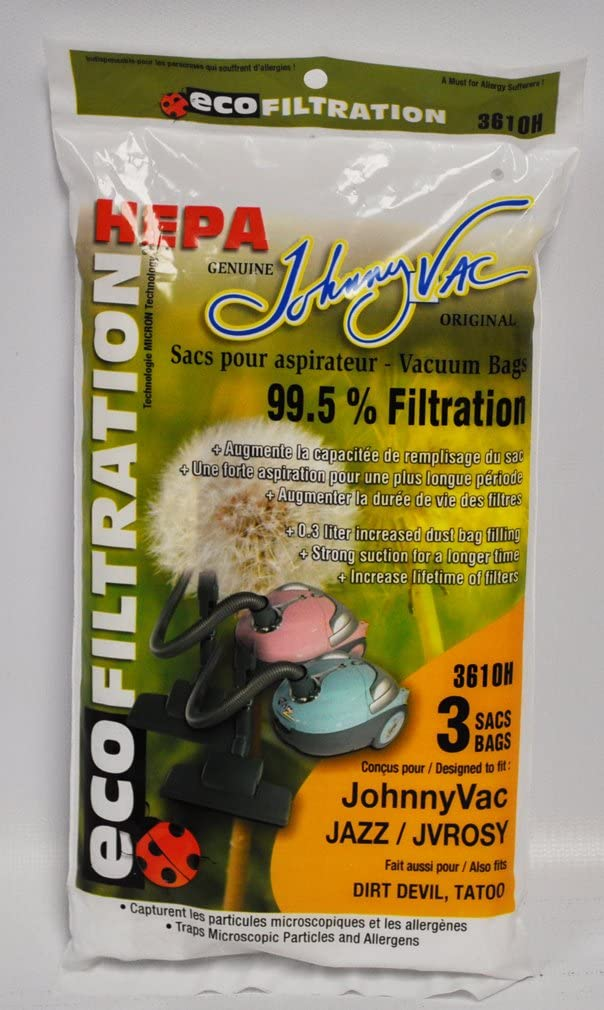 Johnny Vac Jazz JVROSY Ecofiltration HEPA Vaccum Bags 3 Pack 3610H