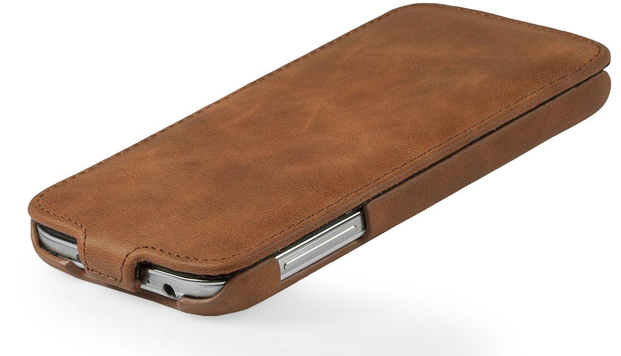 StilGut UltraSlim Genuine Leather Case for Samsung Galaxy S4 i9500 & i9505, Cognac vintage