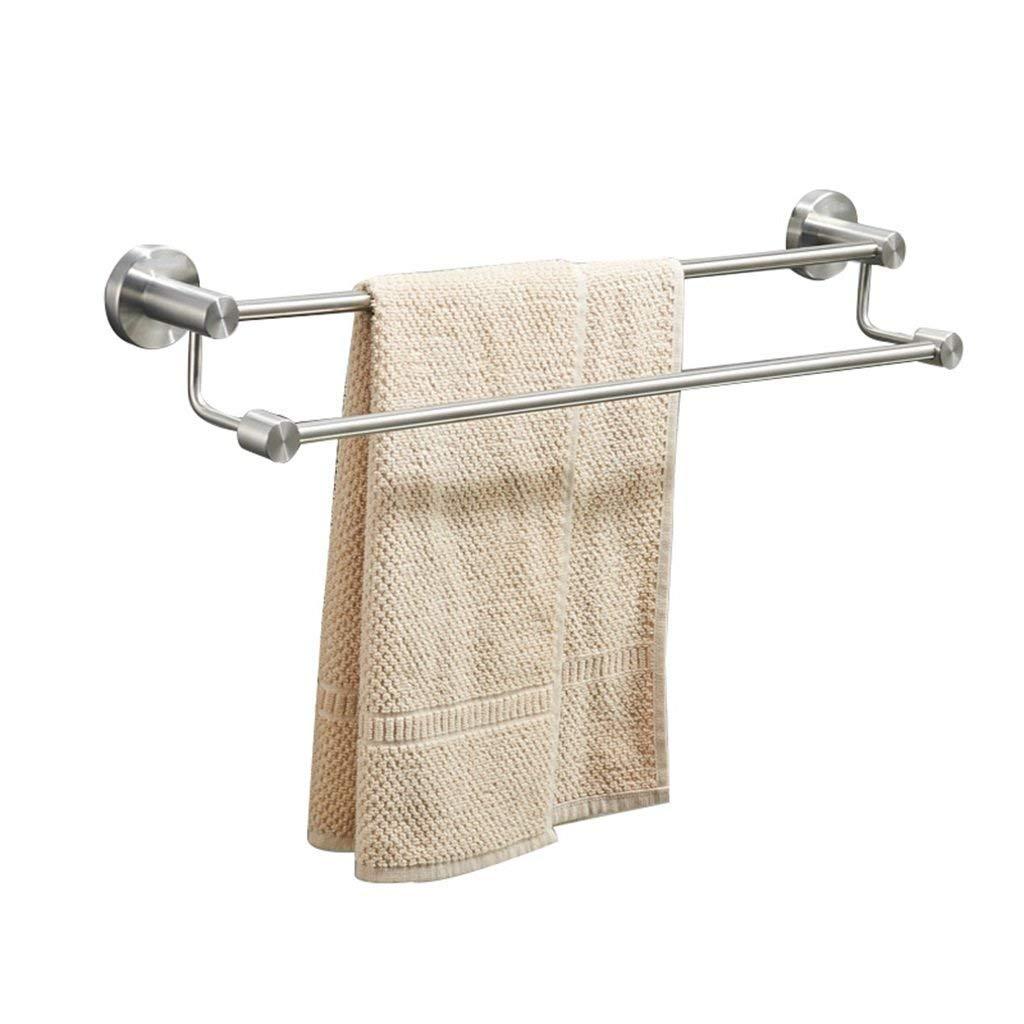 Towel Rack Towel Rack Towel Bar Double 304 Stainless Steel Bathroom High and Low Towel Bar Double Pole Bathroom Towel Shelf