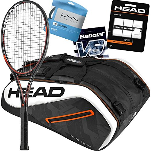 Marin Cilic HEAD Tennis Racquet, Bag, String and Overgrip Bundle Pack (Grip Size 4 3/8-inch)