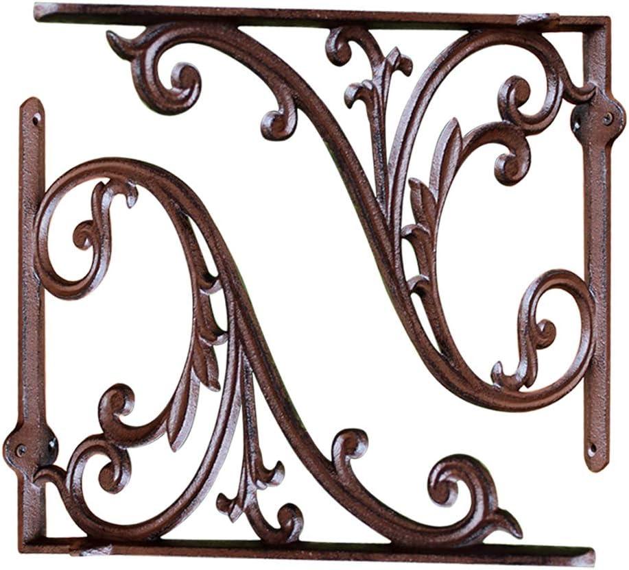 /Équerre pour /Étag/ère de Support /Étag/ère /à Livres d/écoratif Mural Fonte Supports /à Angle Droit Croisillon dangle en m/étal en L OWUV Support d/étag/ère Vintage Noir *2