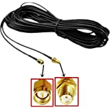 Lsgoodcare 9M Black RP-SMA Male (Pin in Center, Inside thread) to Female (Hole in Center,Outside Thread ) Wifi Antenna Connector Extension Cable