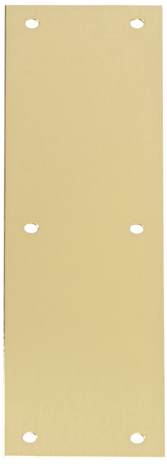 Rockwood 70A.4 Brass Standard Push Plate, Four Beveled Edges, 12' Height x 3' Width x 0.050' Thick, Satin Clear Coated Finish 12 Height x 3 Width x 0.050 Thick Rockwood Manufacturing Company