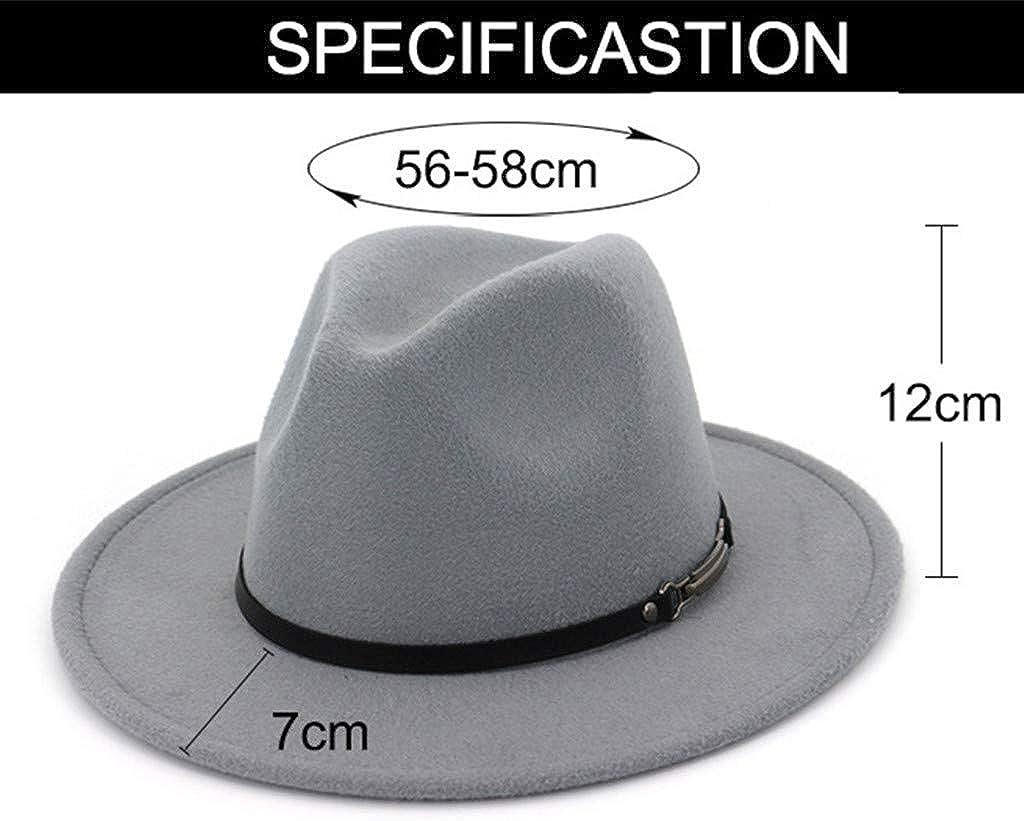 Gossifan Women Wide Brim Fedora Hats for Fashion Belts Unisex Felt Hat