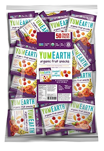 YumEarth Organic Natural Fruit Snacks Snack Packs, 50 Count