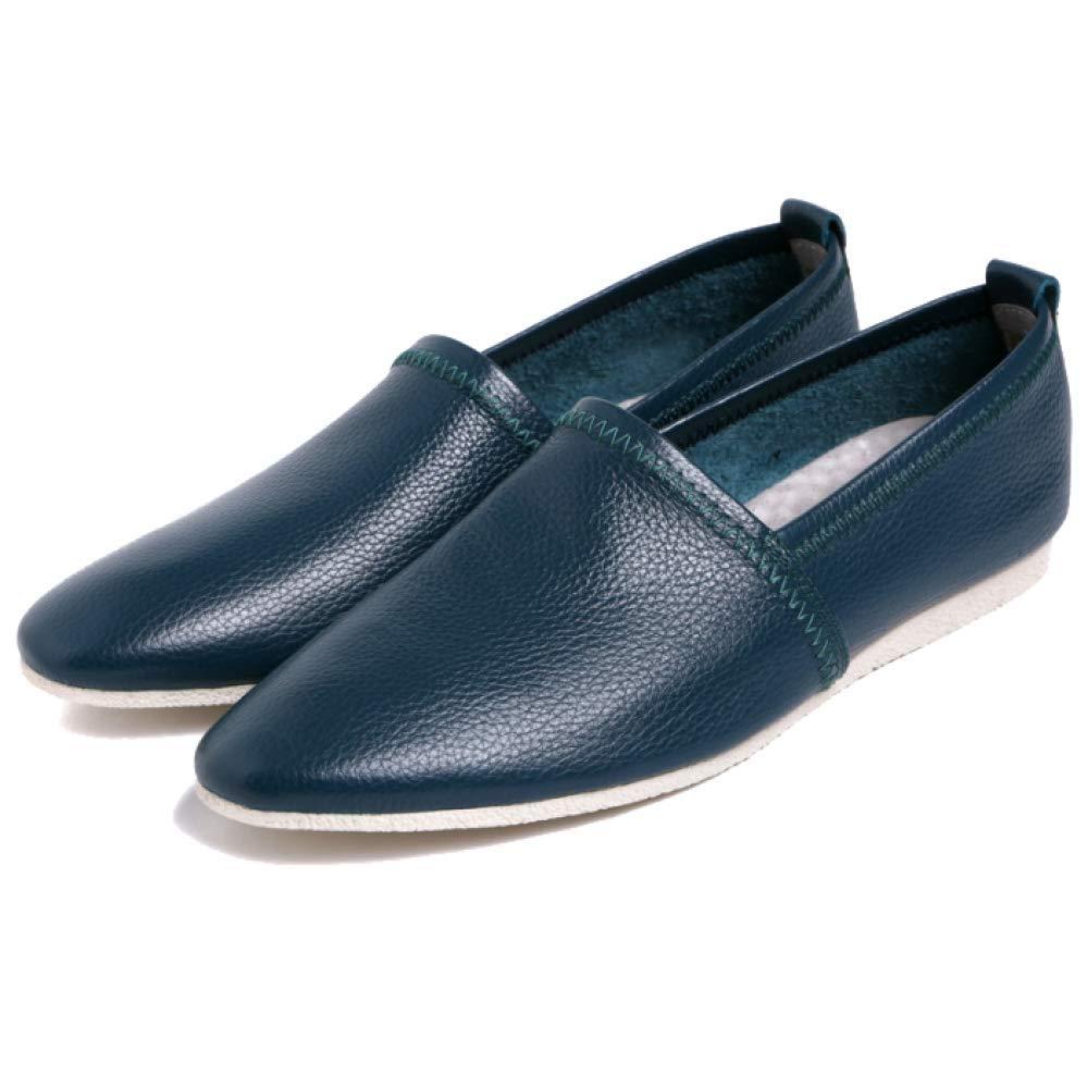 Herren Lederschuhe Lässig Niedrig Cut Faul Schuhe Weiches Leder Leder Leder Bottom Alltag Licht und Komfortable Stylish Blau 9a09f6