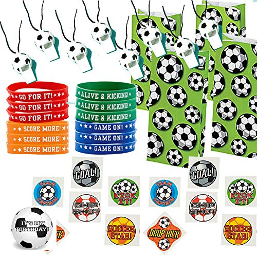 Soccer Party Favors for 12 - Soccer Whistles (12), Soccer Wrist Bands (12), Soccer Tattoos (72), Soccer Theme Favor Gift Bags (12) and Happy Birthday Sticker (Total 109 -