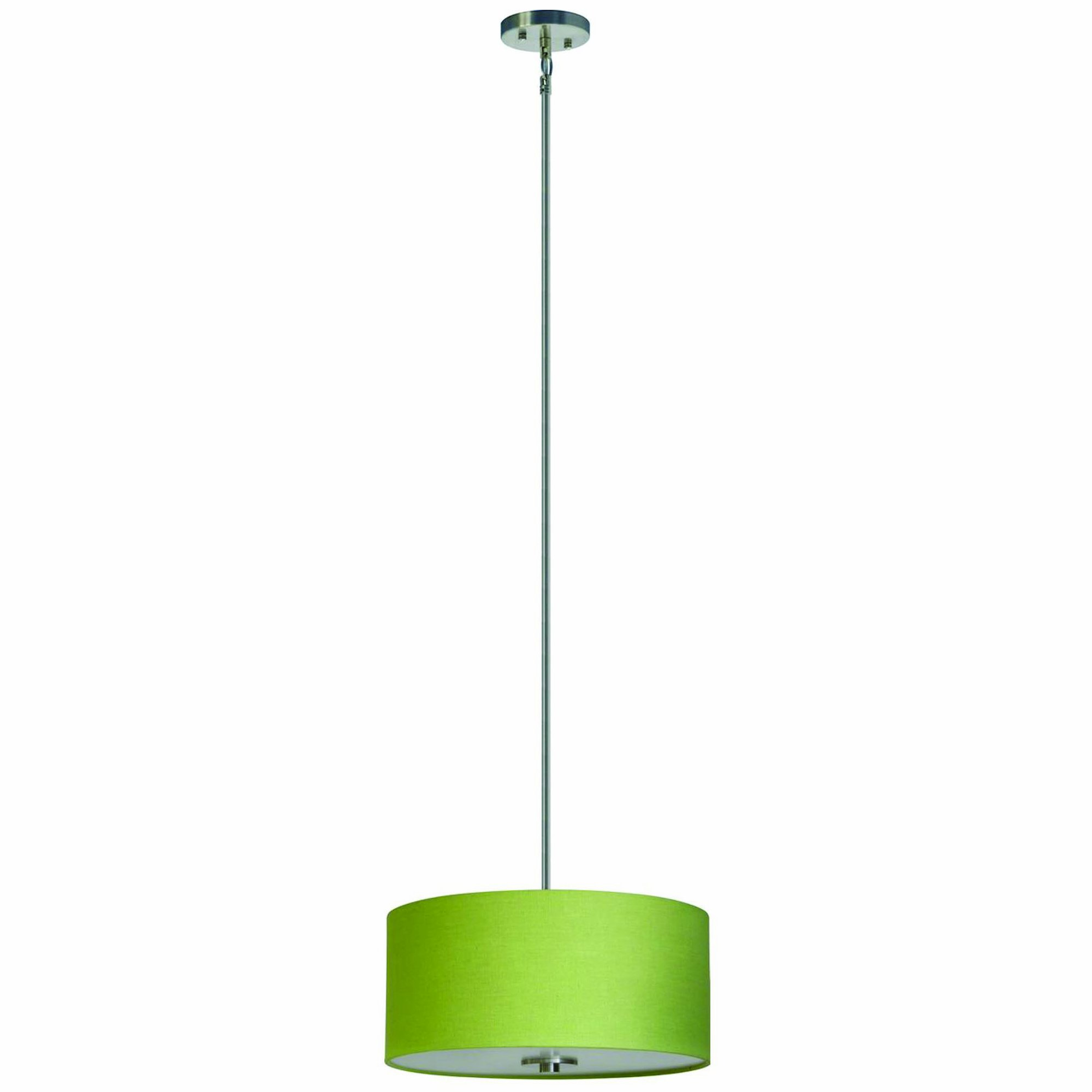 Yosemite Home Decor SH1607-3P-RLSS Lyell Forks Family 3-Light Satin Steel Pendant with Riche Lime Shade, Green by Yosemite Home Decor