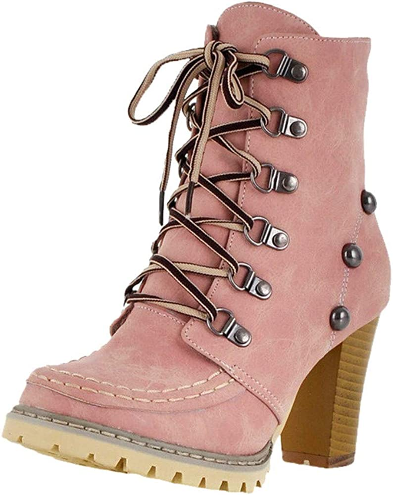 Botas de Tacón Mujer K-Youth Zapatos Mujer Invierno Moda Zapatos Altos Talones Cordones Botas Botas Mujer Invierno Altas Tacon 2019