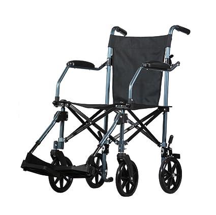 Silla de ruedas Manual, Ancianos, Discapacitados, Portátil, Plegable Aluminio liviano, Empuje