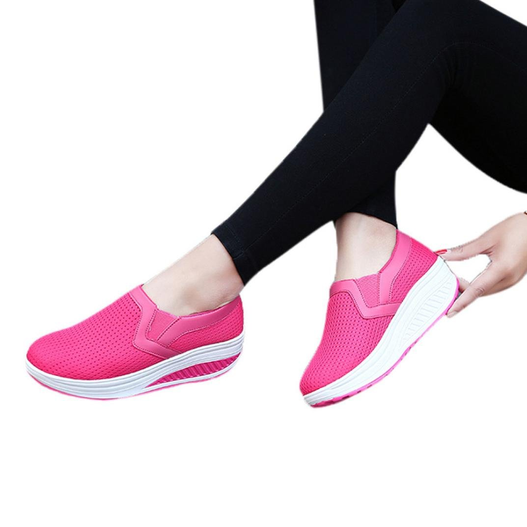vermers Clearance Sale Breathable Shoes Casual - Women Fashion Sneakers Fitness Shoes Platform Sneaker(US:6.5, Hot Pink) by vermers