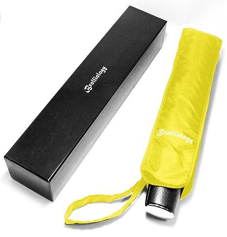 Paraguas Plegable Cortavientos Ventilado Apertura y Cierre Automáticos Amarillo Viaje Paraguas para Hombre y Mujer Extremadamente
