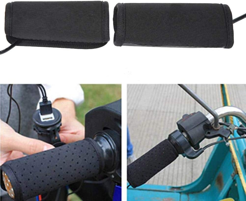 Motorcycle USB Heated Grips Motorcycle USB Heated Grips 5V Antiskid with Switch Cable for 30-40mm Handle Diameter