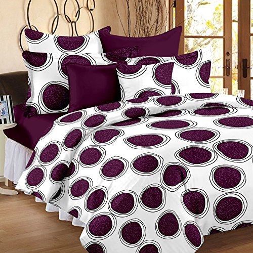 Ahmedabad Cotton Comfort 160 TC Cotton Double Bedsheet with 2 Pillow Covers – White and Purple