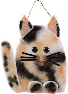 product image for Modern Artisans Whimsical Cat Fused Glass Sun Catcher, Handmade in USA (Calico)
