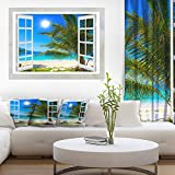 Window Open to Beach with Palm Extra Large Seashore Canvas Art