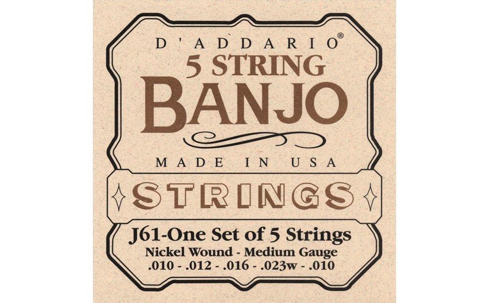 D'Addario J61 5-String Banjo Strings, Nickel, Medium, 10-23 D'Addario &Co. Inc