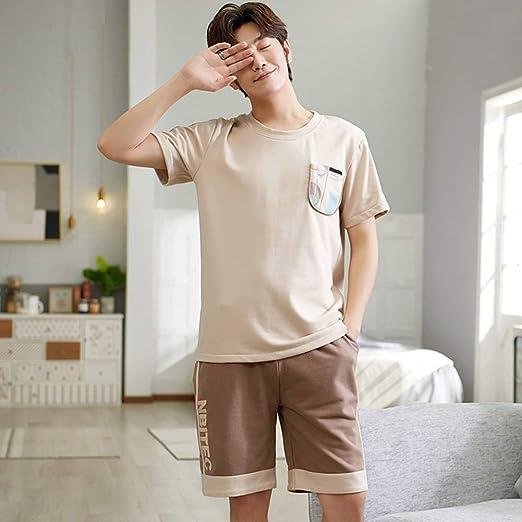 ZWLXY 2020 Pijamas para Hombres Algodón Verano Estampado Homewear Pijamas para Hombres Set Hombre Suave Traje De Dormir Trajes De Noche Pijama XXXL,Marrón,L: Amazon.es: Jardín