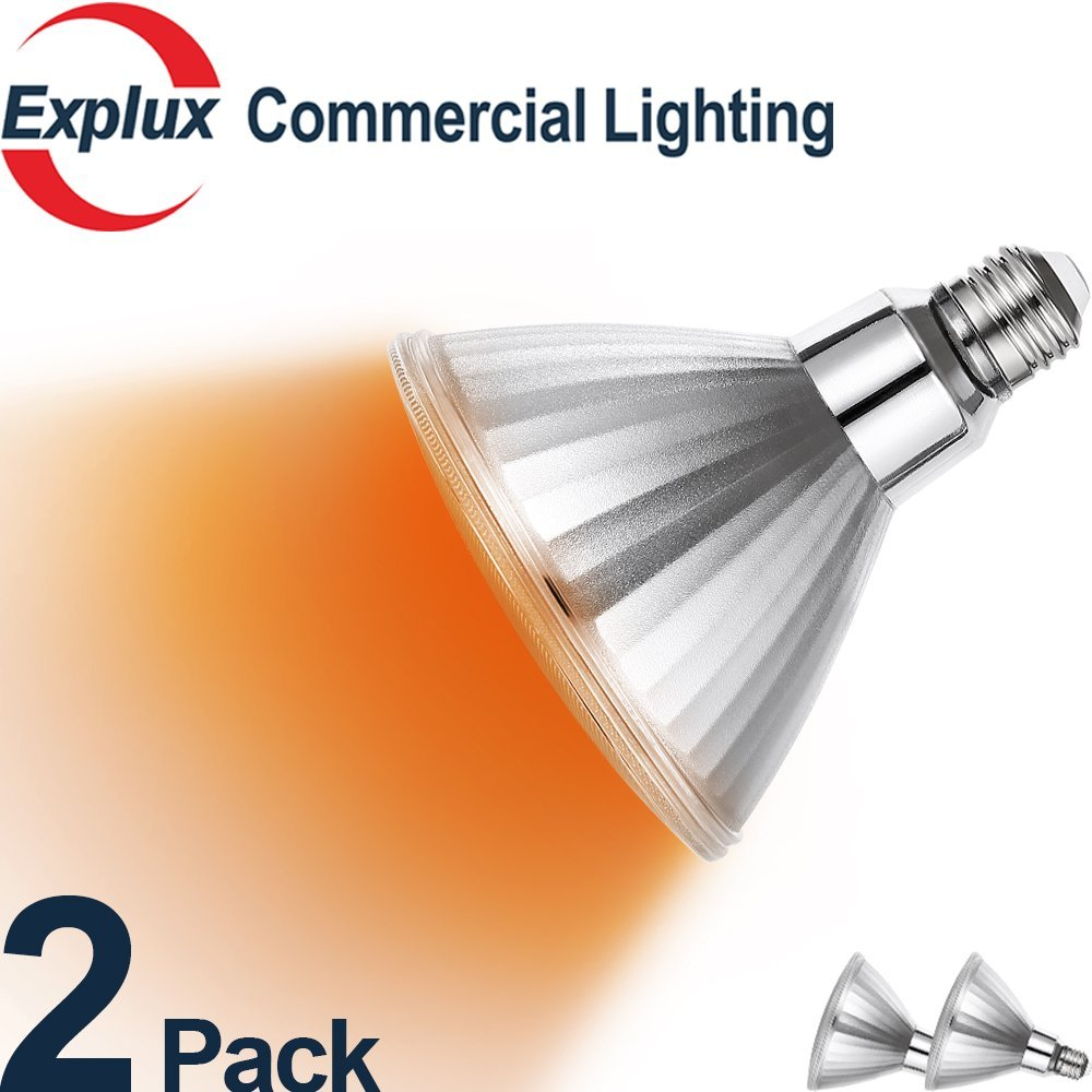 Amber LED PAR38 Bulbs, Color-Boost Version, Dimmable, Full-Glass Weatherproof, 45,000 Hours, 10W (120 Watts Equivalent) LED Amber PAR38 Light Bulbs, Flood Light, Amber Color (Pack of 2)