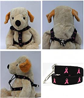 "product image for Diva-Dog Black 'Breast Cancer Awareness' Custom 5/8"" Wide Dog Step-in Harness with Plain or Engraved Buckle, Matching Leash Available - Teacup, XS/S"