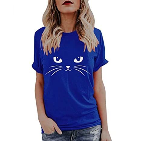 Yesmile Camiseta de Mujer Tops Negro Blusa Causal Ocasionales Camiseta Causal de Las Mujeres Ocasionales de Manga Corta O-Cuello Tops Gato Impreso (Azul A, ...