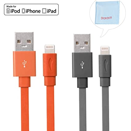 6+ 6 7+ 7 Flat Lightning to USB 4 ft Cables for use with Apple iPhone 5 4