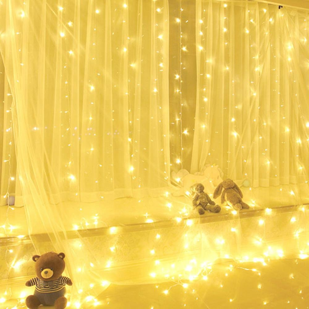 KOBWA USB Curtain Lights, 300 LEDs Fairy String Lights with Remote Controller 3m Decorative lights with 8 Lighting Modes for Wedding, Christmas, Party and Home Bedroom Wall Decoration