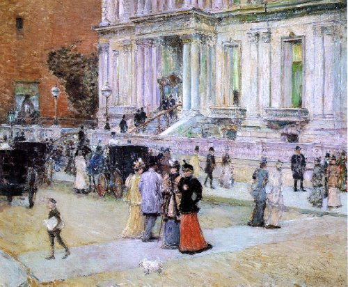 "Art Oyster Frederick Childe Hassam The Manhattan Club - 20.05"" x 25.05"" Premium Canvas Print Gallery Wrapped"