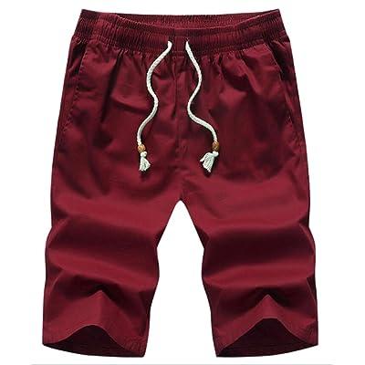 ainr Men Beach Flat Front Elastic Waist Casual Chino Shorts Solid