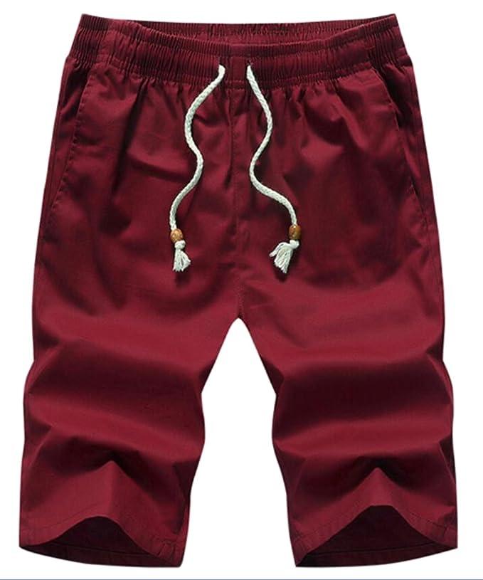 524a3945fb ainr Men Beach Flat Front Elastic Waist Casual Chino Shorts Solid