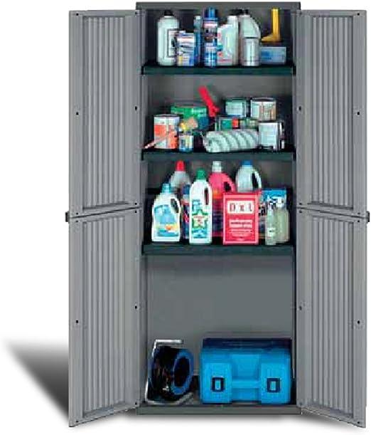 Armario de resina mobile 2 puertas para exterior estantes 68 x 37 cm: Amazon.es: Jardín