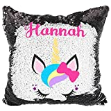 Personalized Mermaid Reversible Sequin Pillow, Custom Unicorn Bow Sequin Pillow (White/Black)