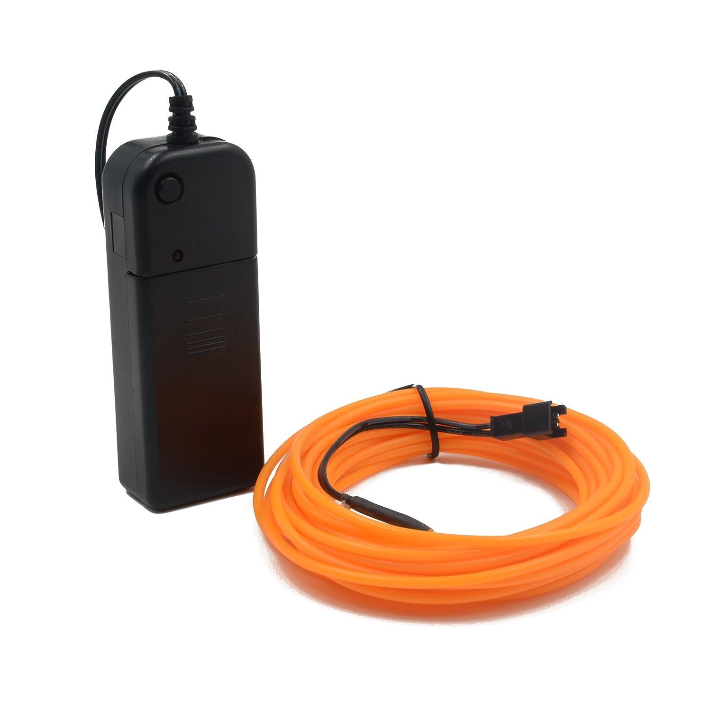 BYS Portable neon EL Wire, lí nea electroluminiscente alimentada por baterí a, iluminada, luces decorativas de la puerta para la barra de la fiesta de Navidad(Azul) línea electroluminiscente alimentada por batería