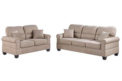 Amazoncom Poundex F7879 Bobkona Shelton Linen Like 2 Piece Sofa